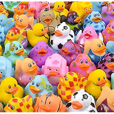 Rubber Duck Assortment for Happy Birthday Party, Baby Shower Games, Gift Bags, Bath Toys, Carnival, Variety Pack of 50