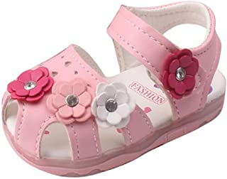 ❤️Chaussures de Bébé Sandales, Amlaiworld Été Filles Fleurs Sandales Chaussures de bébé Allumées Baskets À semelle molle Sandales Chaussures Princesse Pour 0-4 Ans (15, Rose)
