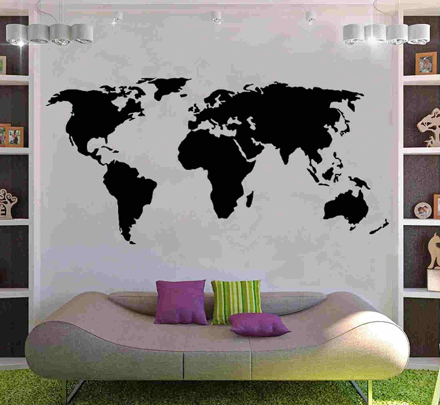 Wall world map vinyl sticker decal mural any colour 180 x 110cm world map decal wall sticker gumiabroncs Image collections