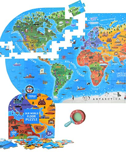 LiteBee World Map Jigsaw Puzzle (100 Pieces) - Big Size World Map Floor Puzzle with Exquisite Package and Magnifier - Early Development Educational Geography Jigsaw Puzzle for Kids