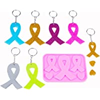Breast Cancer Awareness Ribbon Silicone Pendant Jewelry Making Mold with 10 Keychains Crystal Resin Epoxy Casting Mould…