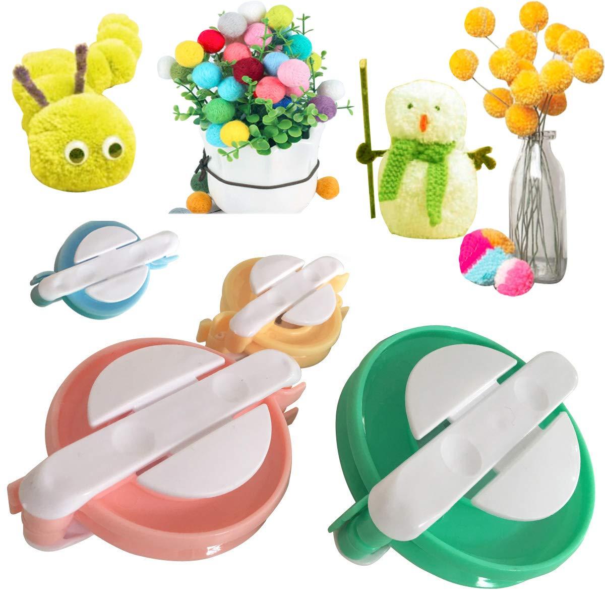 Pompom Makers Handmade Pom Pom Tool Making Christmas Toy Crafts Pom-pom Maker Set DIY Fluff Ball Bobble Weaver Needle Knitting Wool pom Makers kit 4pack