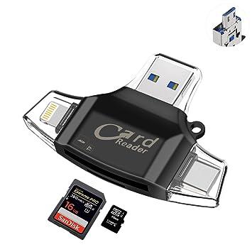 Sonoka Lector Tarjetas de Memoria - Auelek 4 en 1 Adaptador Tarjetas USB 2.0 / Lightning/Micro USB/Tipo C Conector, Lector Tarjetas Micro SD y ...