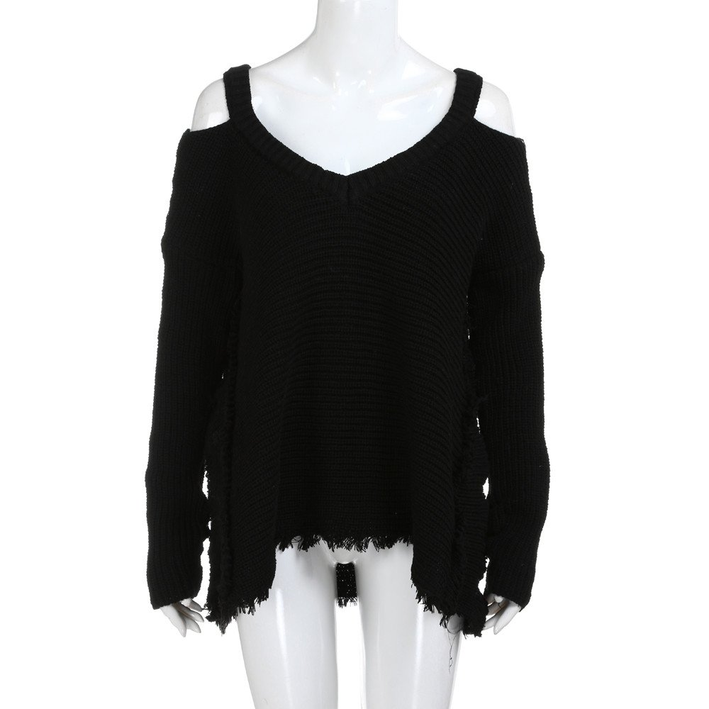 Women V-Neck Cold Shoulder Soild Color Knitted Long Sleeve Tassel Women Pullovers Sweaters Top Blouse