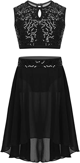 CHICTRY Youth Big Girls Lyrical Dance Dress 2-Piece Sequins Floral Lace Chiffon Party Ballroom Dancing Ballerina Costumes