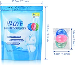 HAOYE 3 in 1 Laundry Capsules Bio Universal Concentrate Laundry Detergent Portable Laundry Gel Pods Travel Washing Liquid Pod Table for Clothes Washing Capsules(Pack of 20)