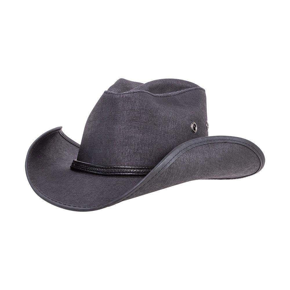 American Hat Makers Stockade by Double G Hats Leather Top Hat Black by American Hat Makers
