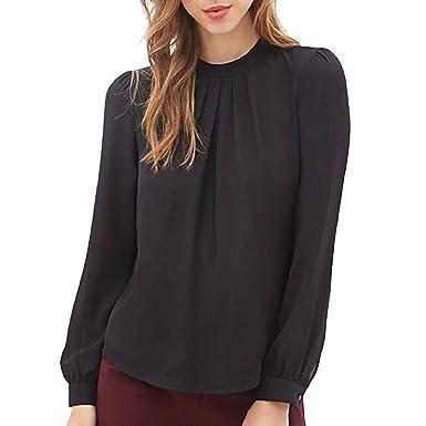 c9dc60823f0 Culater® Women Summer Fold Loose Casual Chiffon Long Sleeve Shirt Tops  Blouse Black