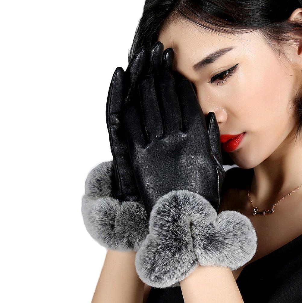 Nanxson TM Femme Gants//Moufle En Cuir PU Avec Fourrure Chaud Pour Automne Hiver ST0048
