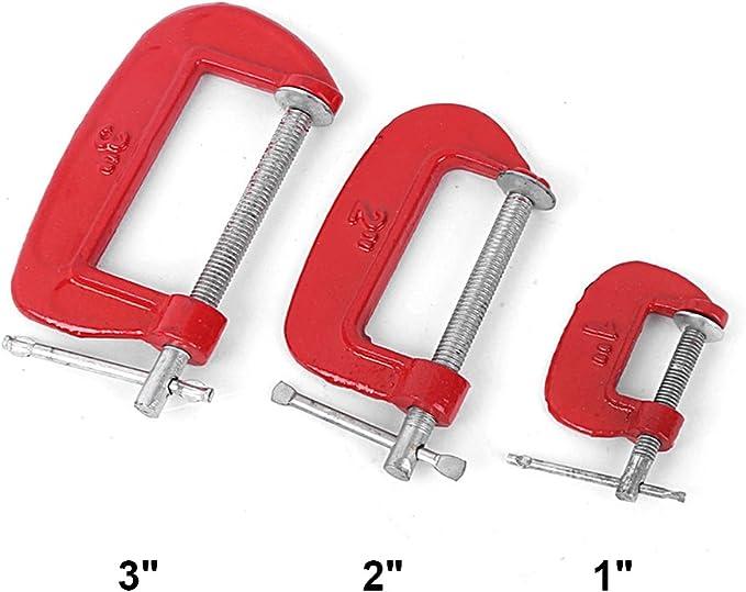 5,1 cm 2,5 cm Serre-joint en m/étal pour menuisier et menuisier rouge 7,6 cm