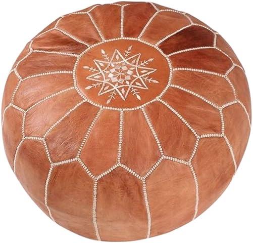 maisonmarrakech Handmade Leather Footstool Marrakech Tan Brown