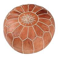 "maisonmarrakech Handmade Leather Footstool Marrakech Tan Brown White Stitching Unstuffed 23"" x 12''"