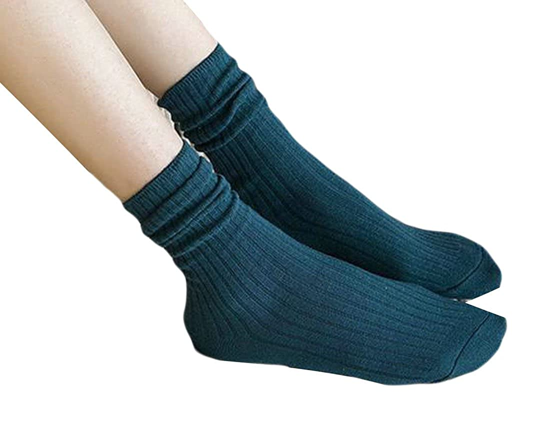 XQS 3 Pairs Women's Basic Warm Thick Knitted Casual Crew Socks