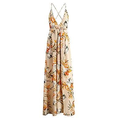 Xanthedoris backless boho cópia da flor longo dress NEW chiffon praia maxi dress mulheres sexy profunda