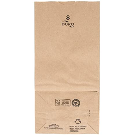 "Duro 8 lb. Capacity 6 1/8"" x 4 1/8"" x 12 7/16"" Kraft Brown Paper Bag - 35# Basis Weight 250 Ct."