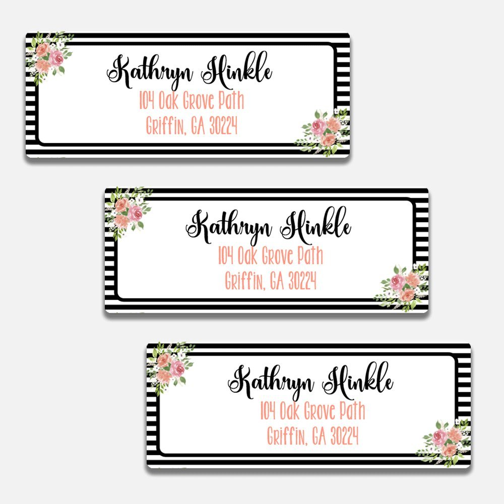 60 Personalized Black & White Floral Personalized Return Address Labels (AL5)