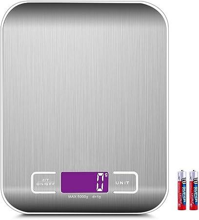 Bilancia Cucina Digitale con Cavetto USB,5kg//11 lbs Professionale Acciaio Inox Alta Precision Bilancia Elettronica per la Casa e la Cucina,Display LCD,Funzione Tare