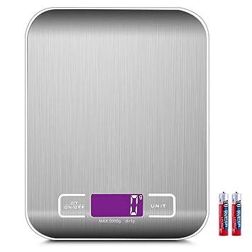Básculas de Cocina Digitales con Función Tara 5kg / 11 lb Alta Precisión hasta 1g Acero