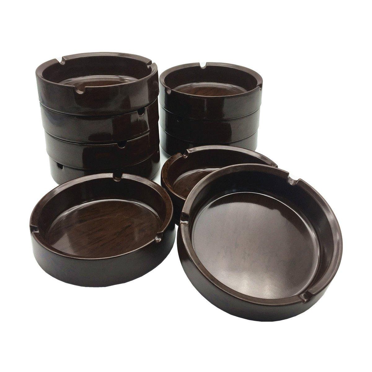 HERF Plastic Melamine Ashtrays Dark-Brown, 10-Pack, M-4.1''