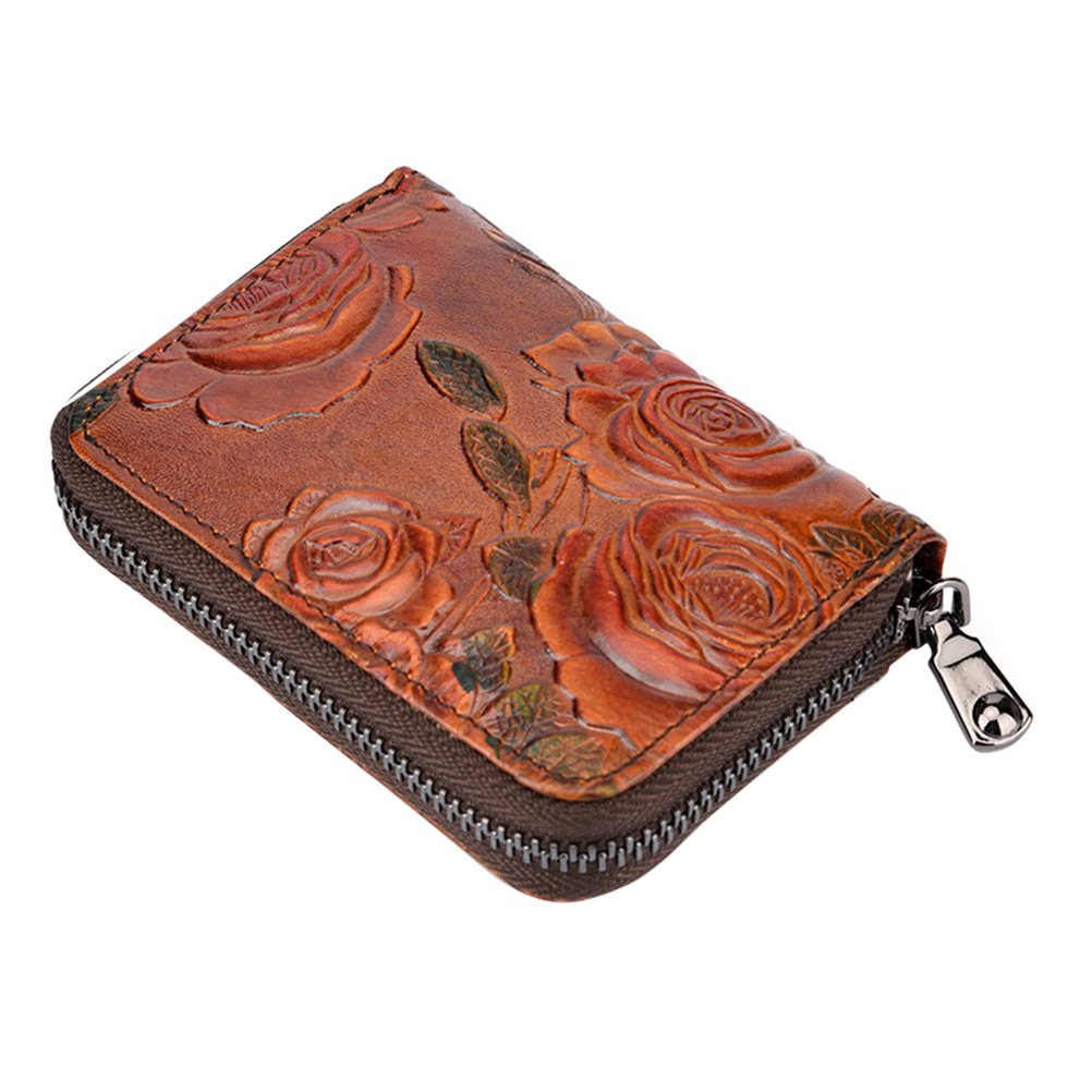 Fmeida Womens Credit Card Case Wallet Zipper Change Card Holder (Red)