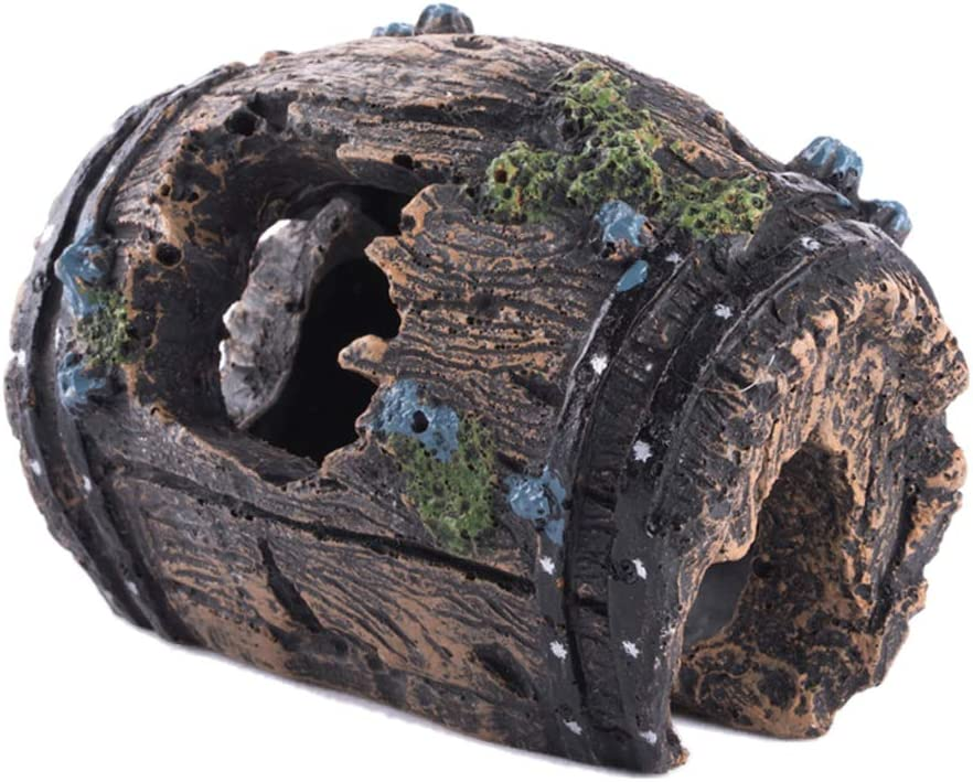 Goldeal Resin Handicraft Used for Aquarium Decoration, Decayed Wooden Barrel with Holes, Fish Tank Decoration