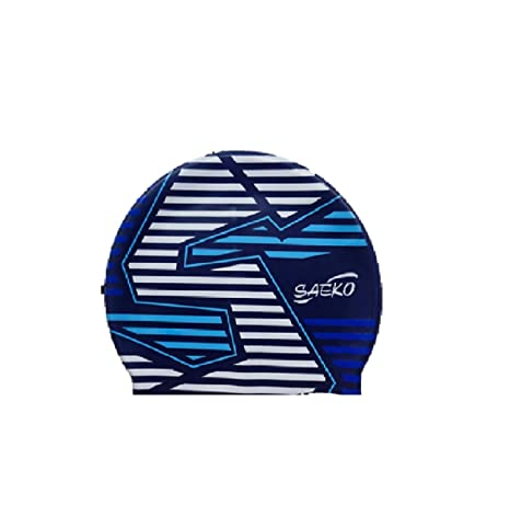 Saeko Stripes Silicon Swimming Cap, Unisex Adult