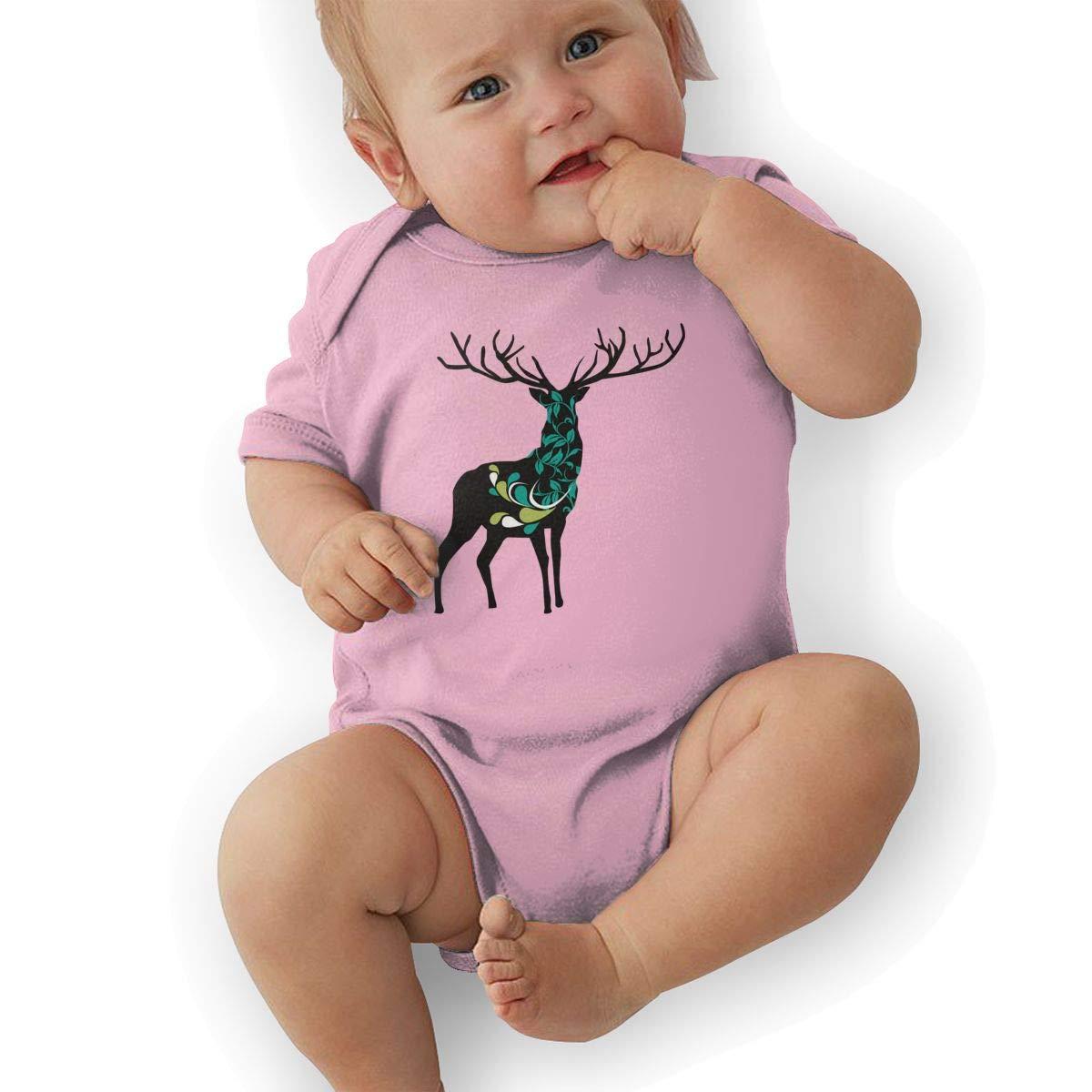 Newborn Baby Girls Bodysuit Short-Sleeve Onesie Deer Nature Pattern Print Jumpsuit Winter Pajamas