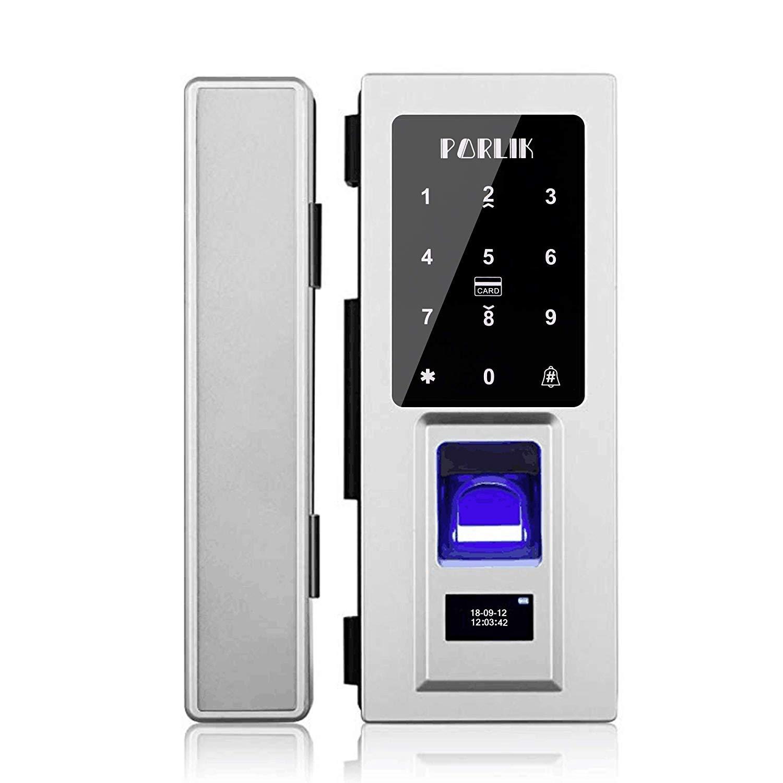 No Drill,Security Biometric Fingerprint Door Lock for Glass Door,Password Door Lock with IC Cards by Porlik