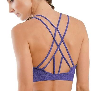 23335f7615 Ssyiz Women s Sexy Sports Bra Fashion Double Strap Solid Color Cotton Soft  Breathable Yoga Tops Sports