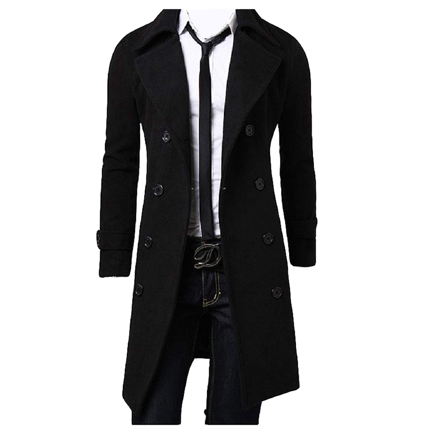 Men Winter Trench Coat Slim Fit Turn Down Collar Knit Cuffs Woolen Coat Business Jacket Overcoat (Double Breasted Black, L) by Folima