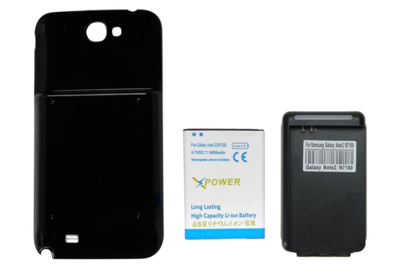 74d704b3137 X-Power 6800mAh Batería Extendida con Carcasa Negra+Cargador de Pared con  Entrada USB para Samsung Galaxy Note 2 II, GT-N7100, SCH-I605(Verizon),  SCH-R950, ...