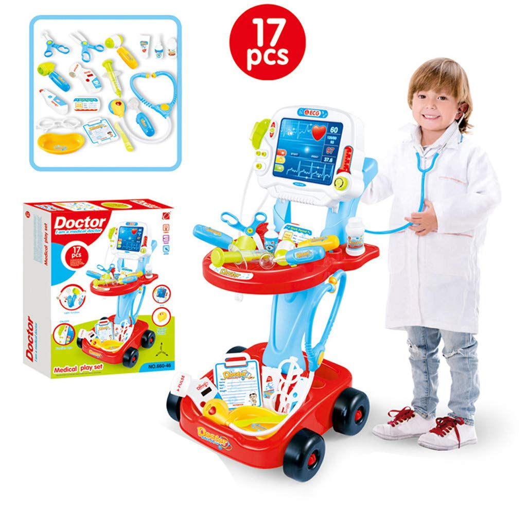 OKBOP Kids Doctor Toy Kit | Medical Pretend Play Kit with Electronic Stethoscope Organizer Role Playing Costume Playset Educational Toys (One Size, Red) by OKBOP