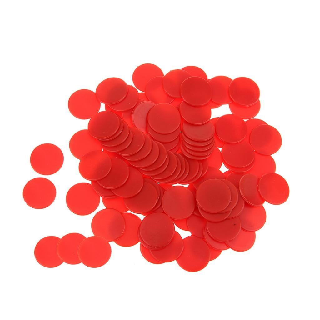 Baoblaze Lot de 100 Jetons de Jeux Opaque Compteurs pour Compter Marquer - Rouge