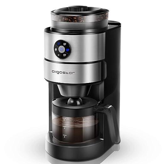 Aigostar Kaffa 30LHX - 2 en 1 Cafetera eléctrica con molinillo integrado. 680-820 W, 5 niveles de molienda. Sistema de goteo, capacidad 2-6 tazas. ...