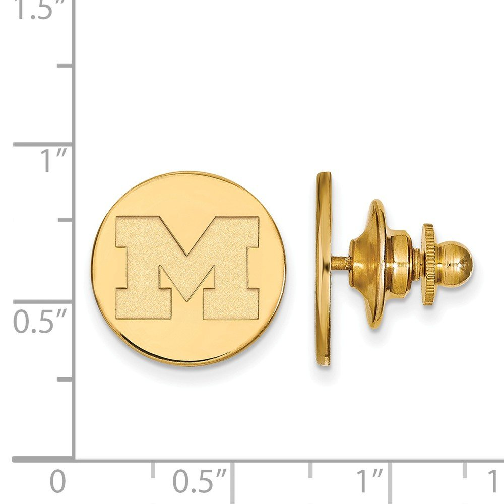 Solid 925 Sterling Silver with Gold-Toned University of Michigan Tie Tac