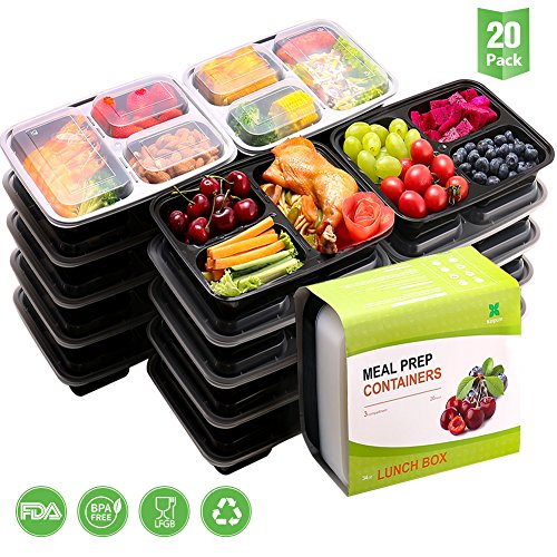 Meal Prep Containers [20 Pack]-3Compartment-(34oz),Lunch Containers With Lids/ Food StorageContainers, BPA Free | Reusable BentoBox, Microwave/Dishwasher/Freezer Safe,Portion Control