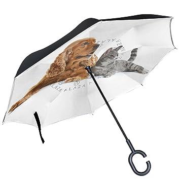 ALAZA perro cachorro gatito gato en color blanco paraguas invertido doble capa resistente al viento Reverse