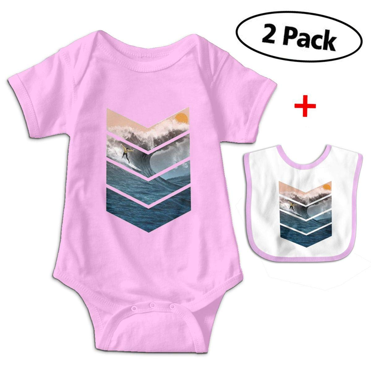 Sunrise Surfer Babys Kids Short Sleeve Bodysuit Outfits for 3-24 Months and Baby Bib