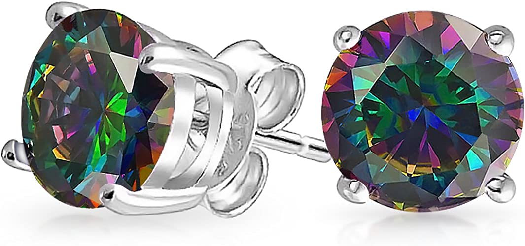 SVC-JEWELS 4.20 CT Round Cut Blue Topaz 9MM Solitaire Stud Earrings 14K Black Gold Over .925 Sterling Silver