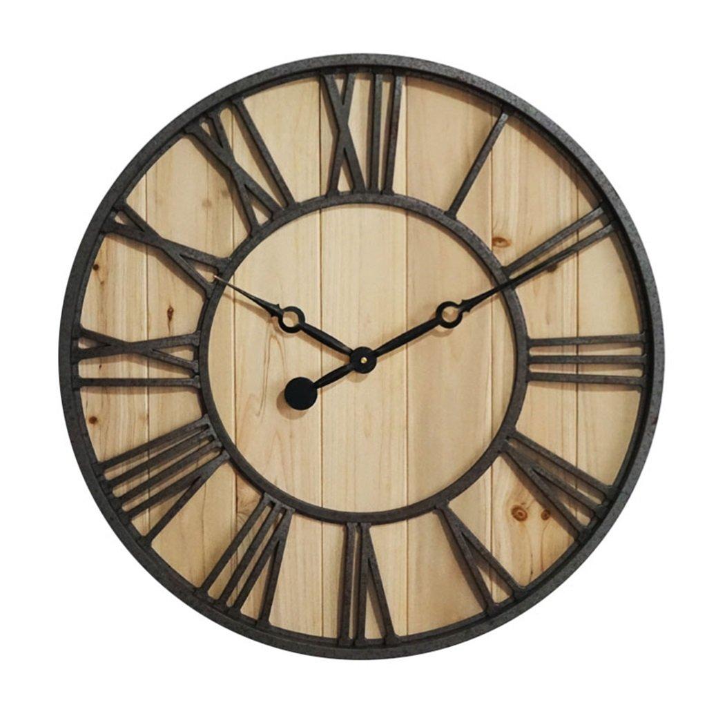 BZEI-掛け時計 57.5cm / 23インチ大型プラスチックウォールクロック、模造アイアン機械木製時計クリエイティブ工業用レトロギアクォーツ時計リビングルーム/寝室/バー/カフェ、単3電池動作((含まれていない) ( 色 : 木の色 ) B0798LTDRP木の色