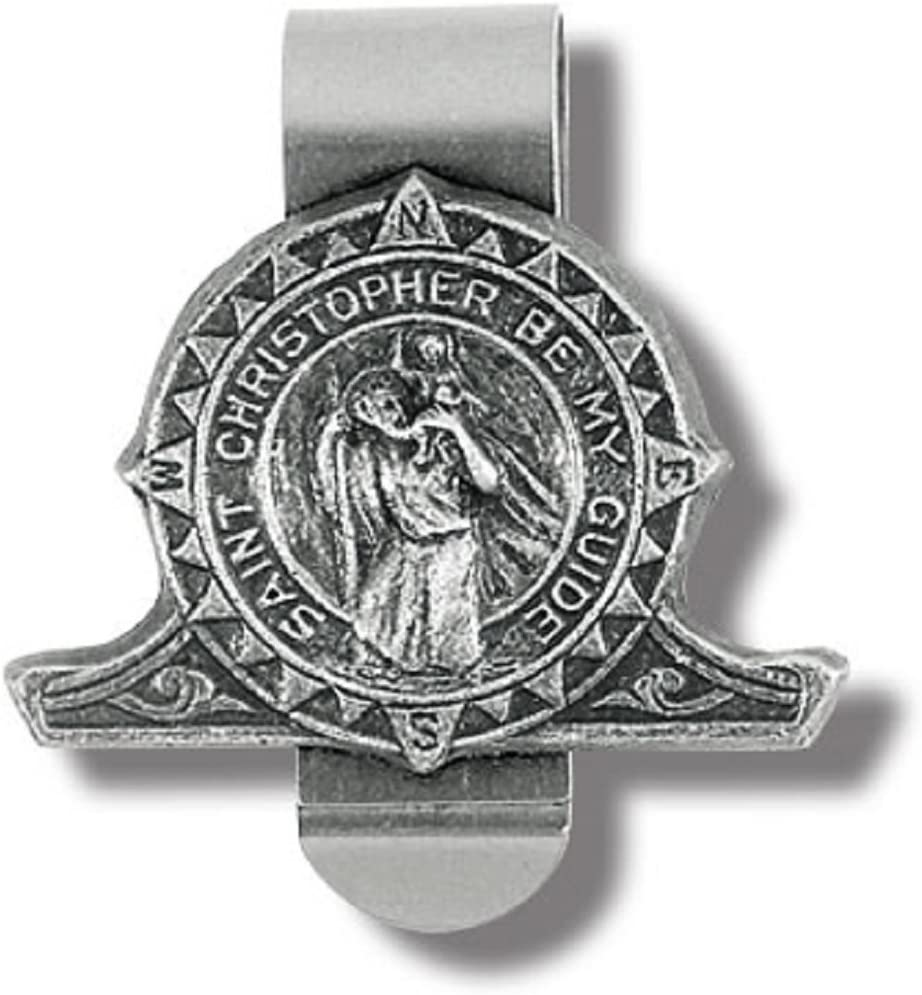 Hirten Saint Christopher Be My Guide Compass Auto Pewter Visor Clip