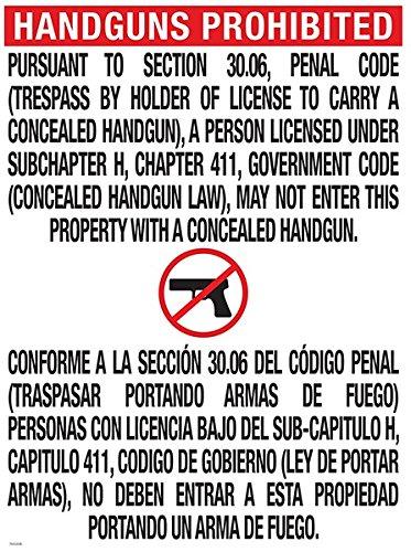 Texas Open Carry Sign (30.06) (Texas 30.06 Sign)