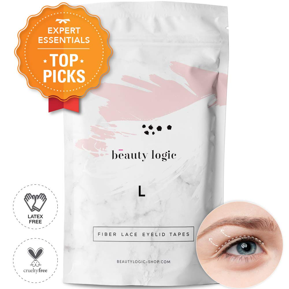 Beauty Logic USA Ultra Invisible Fiber Lace Eyelid Lift Kit 120pcs Blends In With Skin No Glare Non Surgical Instant Eyelid Lifting For Hooded Droopy Uneven Mono-Eyelids Latex Free Adhesive, Large