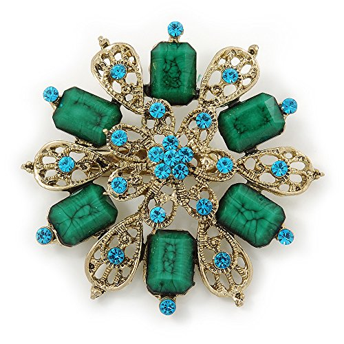 Avalaya Vintage Inspired Teal Green Acrylic Bead, Light Blue Crystal Filigree Flower Brooch in Gold Tone - 60mm D