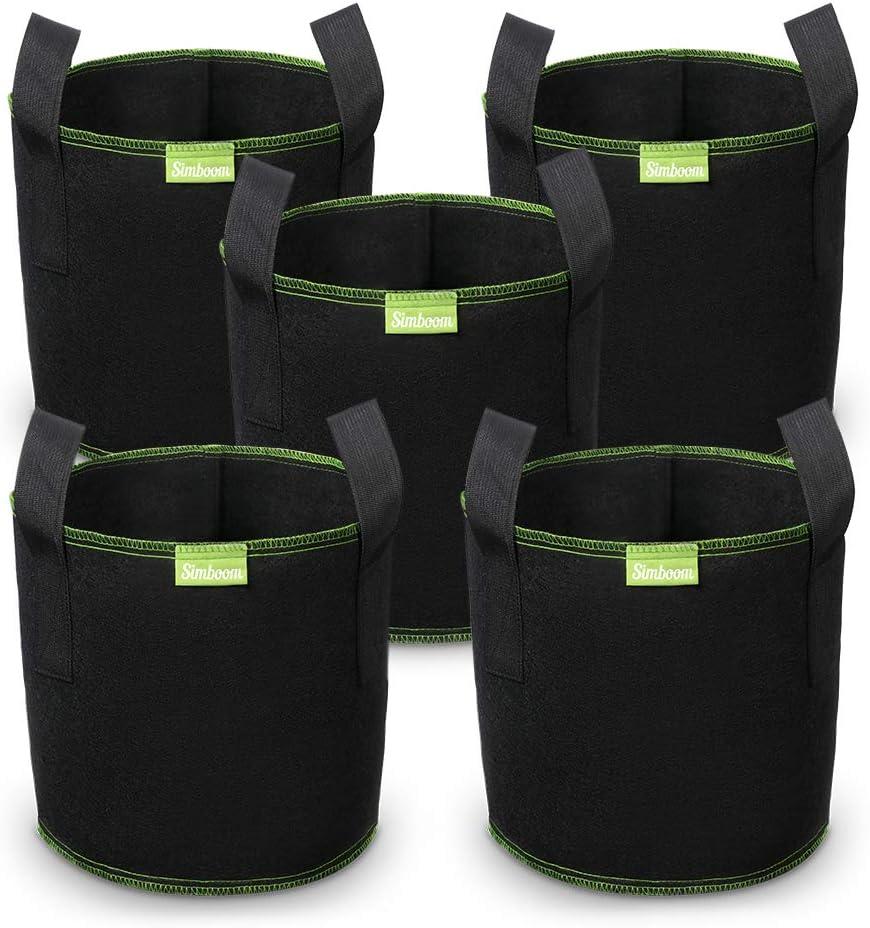 SIMBOOM Bolsas para Plantas 40L (5 Piezas), Bolsa de Cultivo No Tejidos, Saco para Plantas de geotextil Respirable para Flores y Verduras, Negro - 38cm x 33.5cm