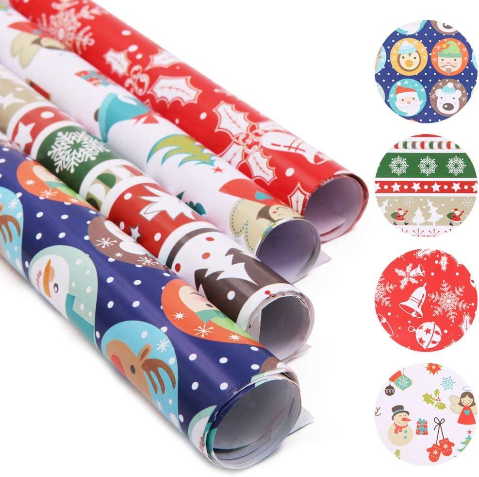 20 hojas de papel de regalo, papel de regalo de Papá Noel, colorido papel de regalo de Navidad, muñeco de nieve para niños, reno, árbol de Navidad, copo de nieve