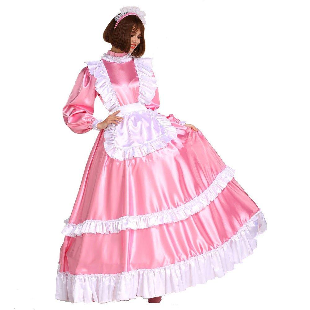 Gocebaby Women Sissy Maid Lockable Satin Long Pink Dress Costume ...
