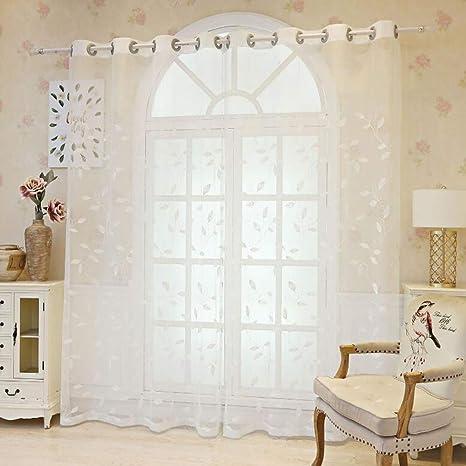YK CURTAIN Cortinas Blancas algodón Cortinas Transparentes Suave Tratamientos de la Ventana para la Sala de Estar del Dormitorio 2pcs,140 * 230cm: Amazon.es: Hogar