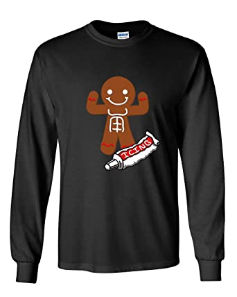 721fadee1d Gingerbread Man Icing Abbs Long Sleeve T-Shirt Funny Christmas Holiday Xmas  Tee Black S