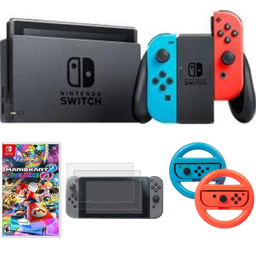 Nintendo Switch 32 GB Console with Neon Blue and Red Joy-Con (HACSKABAA) Mario Kart 8 Deluxe, Tempered Glass Screen Protector (2-Pack) & Steering Wheel Switch (2-Pack)